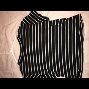 A black and white stopped crop top